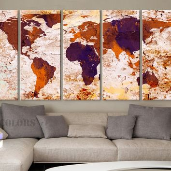"XLARGE 30""x 70"" 5 Panels Art Canvas Print World Map Original Watercolor texture Old Wall Orange Brown Purple Home decor (framed 1.5"" depth)"