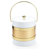 Ice Bucket, White/Gold, Ice Buckets