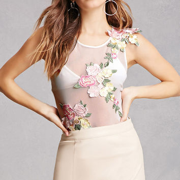 Floral Patch Sheer Bodysuit