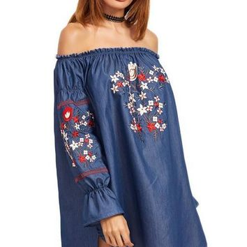 Embroidery Beach Dress Women Blue Off Shoulder High Low Chambray Summer Dresses Vintage Sexy Casual Dress