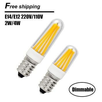 Dimmable E14 LED Lamp 220V 110V Mini LED E12 Filament Bulb E14 COB LED Light Bulb High Lumen Chandelier Lights Free Shipping
