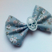 Pastel Goth Blue Floral and Skull Hair Bow