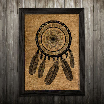 Dreamcatcher poster Antique art Burlap print Tribal print BLP646