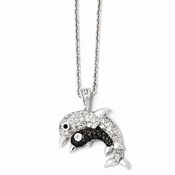 """Sterling Silver CZ & Rhodium Dolphins 18"""" Necklace"""