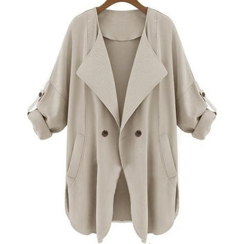 Women's Casual Apricot Long Sleeve Pockets Trench Coat = 1929757764