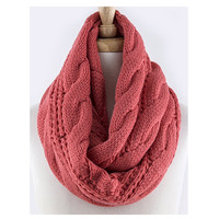 Thick Cozy Warm Cable Knit Coral Infinity Scarf, Loop