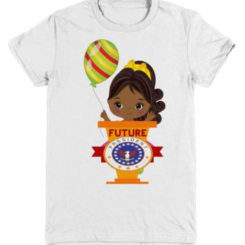 African American Pony Tail Girl T Shirt Future President