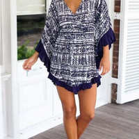 Hot Sale Summer Stylish V-neck Print One Piece Dress [4918660996]