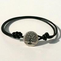 SALE Silver Tree of Life Button Leather by Jennasjewelrydesign