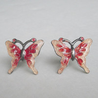 Bohemian Glass Red Pink Butterfly Post Earrings Jewelry