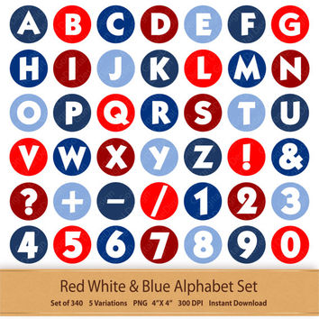 Digital Alphabet Red White And Blue Independence Letter Art Boy Digital Alphabet Fourth of July Printable Alphabet Patriotic Letters Clipart