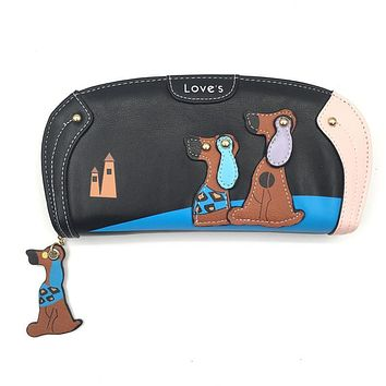 2017 Women Wallet With Cute Puppy Dog Zipper Women Wallets Luxury Brand Wallets Designer Female Coin Purses Phone Pocket Clutch