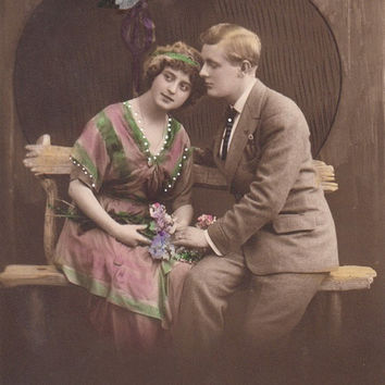 Vintage Romantic French lovers postcard . Couple Love card .