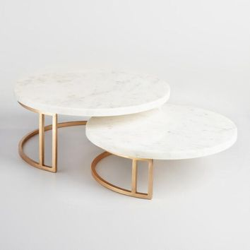 Gold and Marble Pedestal Stand