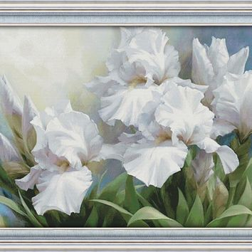 Joy Sunday Flower Style Iris Patterns Embroidery Crafts Painting Needlework Diy Painting Cross Stitch Embroidery Home Decoration