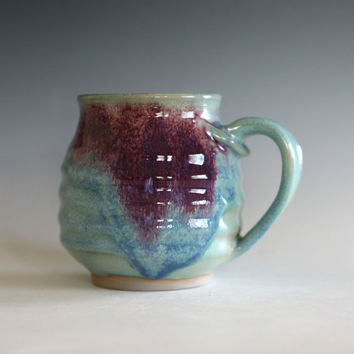Pottery Coffee Mug, unique coffee mug, handthrown mug, stoneware mug, wheel thrown pottery mug, ceramics and pottery