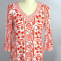 Chicos Knit Top Orange White V-Neck Size 1 Medium