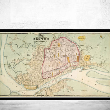 Old Map of Guangzhou old Canton 1860 China