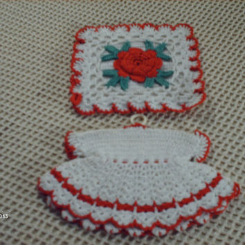 Vintage Hand Crocheted Pot Holder Set, Dress and Square Pad with Rose