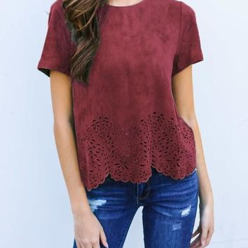 Red Cut Out Wavy Edge Round Neck Casual T-Shirt