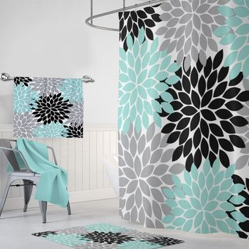 Flower SHOWER CURTAIN, Aqua Gray Black Bathroom Decor, Floral Custom MONOGRAM Personalized Bathroom Decor, Flower Bathroom Towel Mat Set