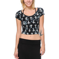 Empyre Girls Tie Dye Crosses Lace Back Crop Top at Zumiez : PDP