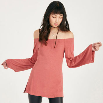 Off-The-Shoulder Ribbed Knit Bell Sleeve Top | Wet Seal