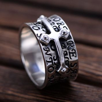 MetJakt Punk Men's Cross Ring with Hand Carved Bible Solid 925 Sterling Silver Ring for Cool Men Personality Style Jewelry