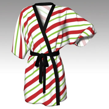 Kimono Robe, Draped Kimono, Dressing Gown, Candy Cane, Beach Coverup, Bridesmaids Robes, Lounge Wear, Swimsuit Coverup, Swim Coverup, Womens