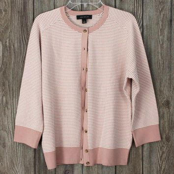 Nice Ann Taylor Cardigan Sweater Pink Off White L size Womens Stretch