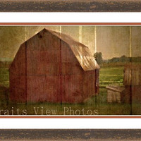 Color photo, old barn photo, red barn photo, rural art, farm decor, rustic decor, rustic art, barn at sunset, natural decor, earth tones,art