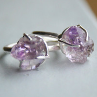 Small Amethyst Crystal Clear and Lavender Purple Rough Stone Prong Set Sterling Silver Ring Size 4 and 6