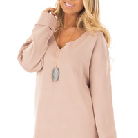 Blush V Neck Long Sleeve Hi Low Sweater with Folded Cuffs