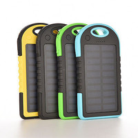 Waterproof 5000mAh Solar Charger Portable Dual USB Mobile Power Bank For iPhone Cell Phone