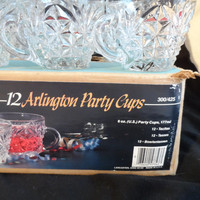Anchor Hocking Arlington Party Cups-Full Case 12 Punch Bowl Cups-Vintage New Old Stock