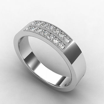 Diamond ring, mens wedding band, White Gold, commitment ring,  men diamond ring, mens modern band, men diamond wedding, milgrain