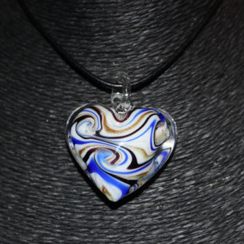 Murano Glass Heart (Blue, Gold,Black and White) Pendant Necklace