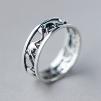 Retro Hollow Out Elephant ring Best Gift 167