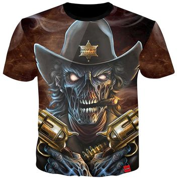 3D Tshirt Men Smoking Skull Cowboy 3D Print Tees Shirt Top Streetwear Casual Summer Cool Plus Size 5XL