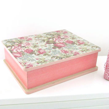 Floral Patterned Jewelry Box - Decoupaged with Vintage Floral paper - Pink Shabby Chic Jewelry Box