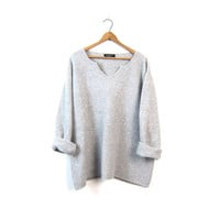 Boxy Gray Sweater Oversized Soft Cozy Boho Sweater 90s V Neck Pullover Basic Light Grey Knit Vintage 1990s Womens 2XL XL Extra Large