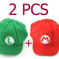 2PCS Super Mario Bros Hat Mario Luigi Cap Cosplay Red Green