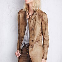 Free People Womens Distressed Leather Blazer