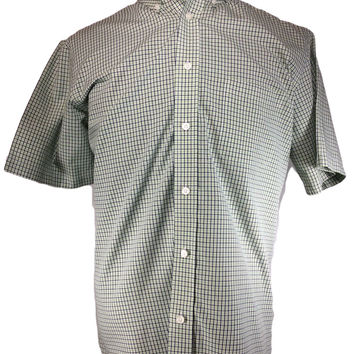 Croft & Barrow Casual Shirt Gingham Check Green Blue Cotton - LARGE