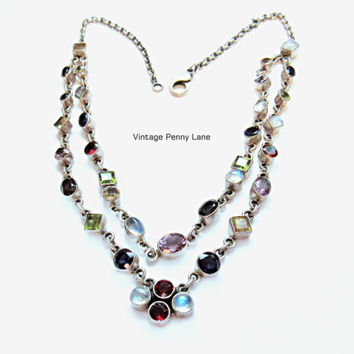925 Gemstone Necklace, Sterling Silver Chain, Colorful Stones