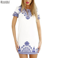 White Blue Porcelain Print Short Sleeve Beach Dress