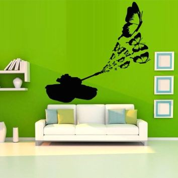 Wall Decal Decor Decals Sticker Art Tank Butterfly Insect Shot Machine Cars Bedroom (M1208)