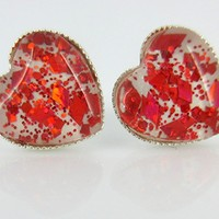 Silver-tone White and Fiery Red Glitter Glass Heart Stud Earrings Hand-painted
