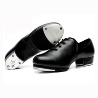 Black Genuine Leather Tap Dance Shoes for Women Girls Performance Training Tap Dance Shoes Heel 3.5cm 1707