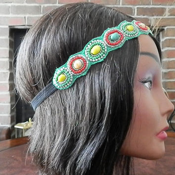Crystal Seed Bead Headband, Boho hair Accessories, Beaded Headbands, Jewel Boho Headband, Mint and Red head piece, Beaded turban, Head wrap